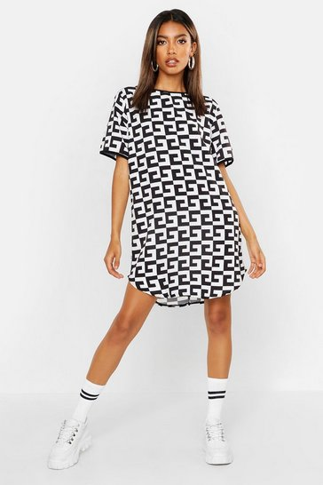 Womens Multi Monochrome Woven Shift Dress