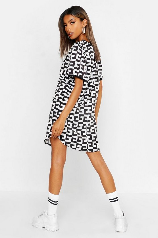 Monochrome Woven Shift Dress