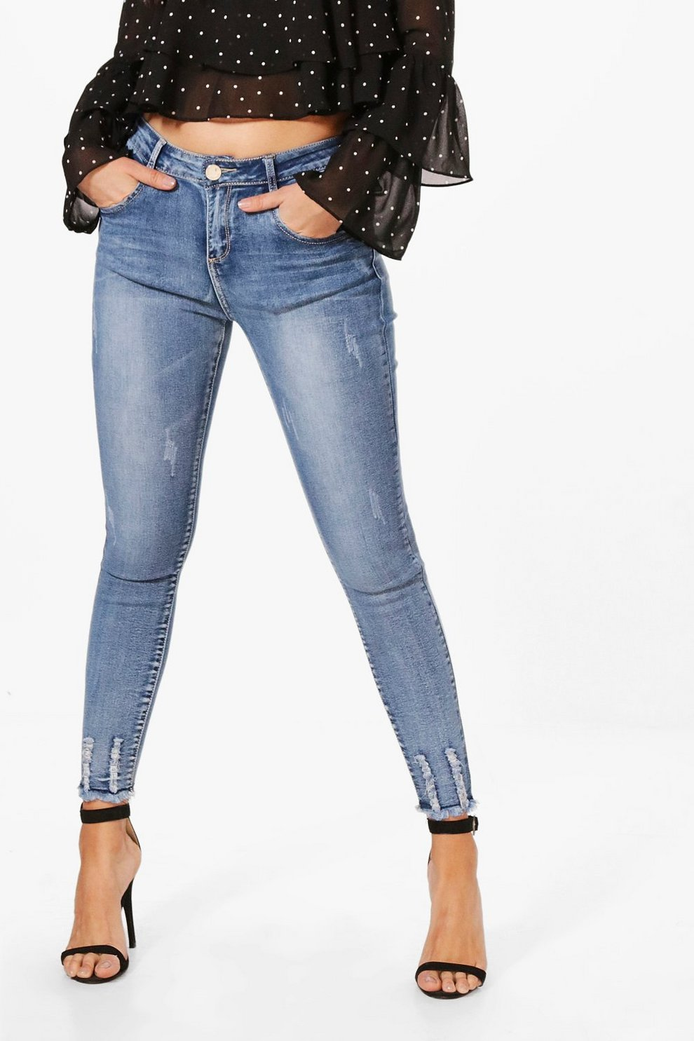 Jean Haute Boohoo Taille Effet Déchiré Ourlet Skinny qqfApF