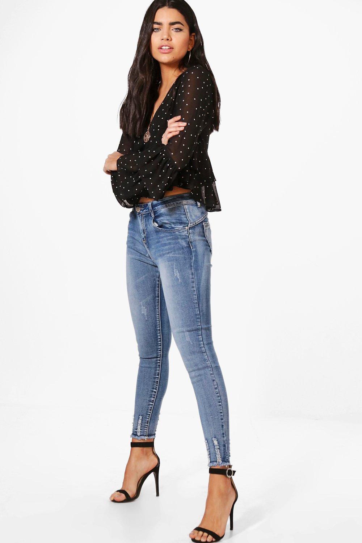 alto con roto talle de bajo medio skinny Jeans Azul nvxItI