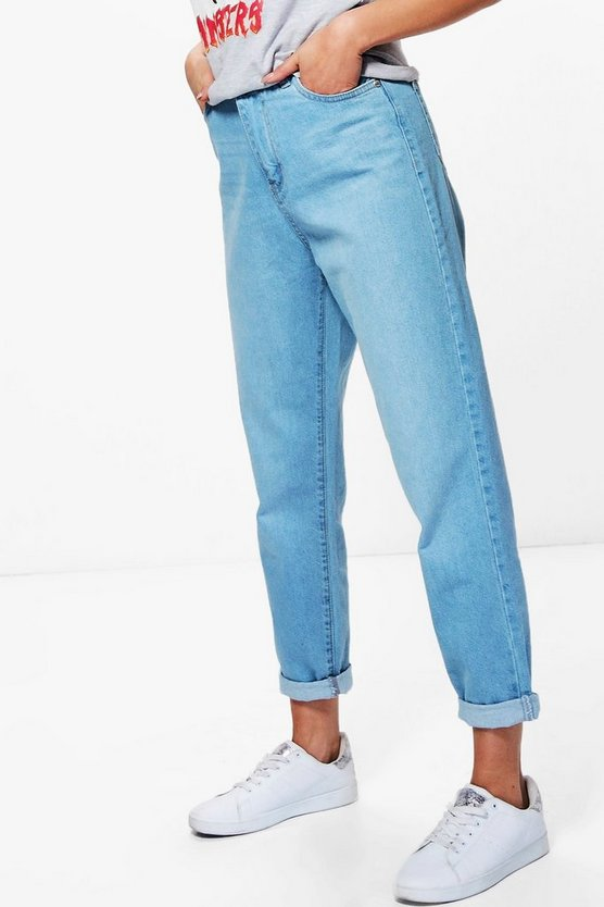 High Rise Roll Hem Mom Jeans