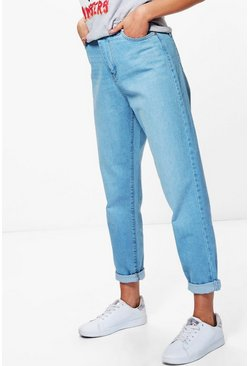 Womens Blue High Rise Roll Hem Mom Jeans