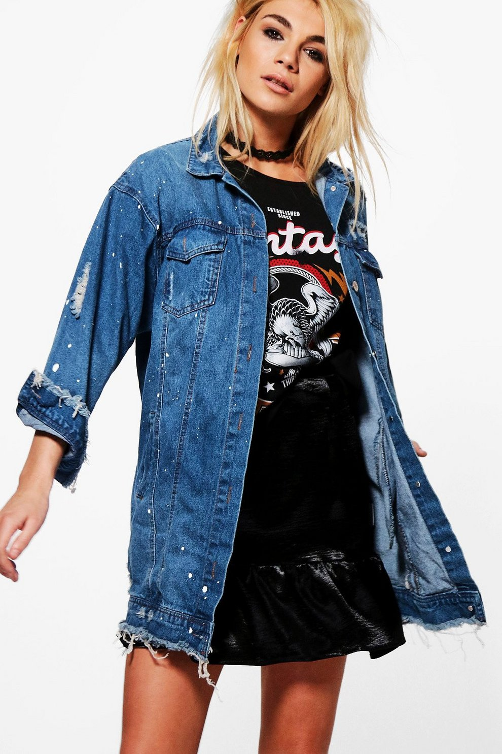 Veste en jean noir peinture