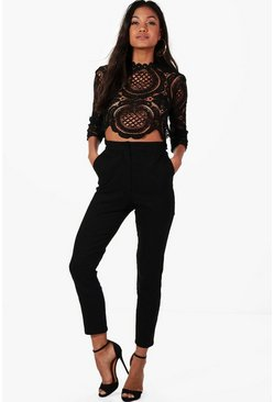 Black Boutique Set med crop top och byxor