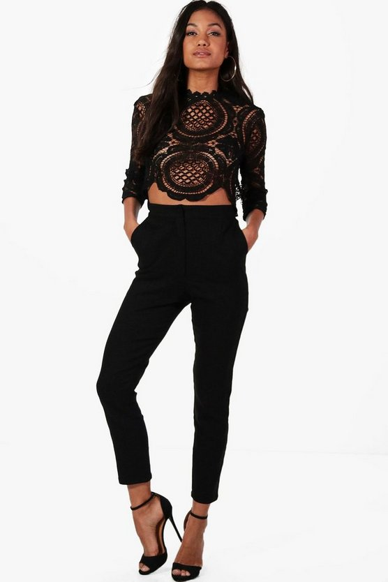 Womens Black Boutique Crop & Pants Co-Ord Set