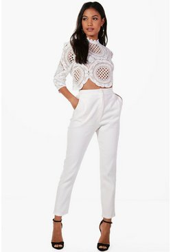 Boutique Crop & Trouser Co-ord Set, Ivory, Donna