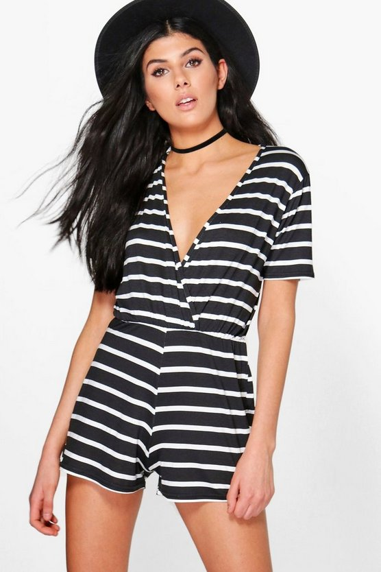 Linda Wrap Front Capped Sleeve Striped Playsuit