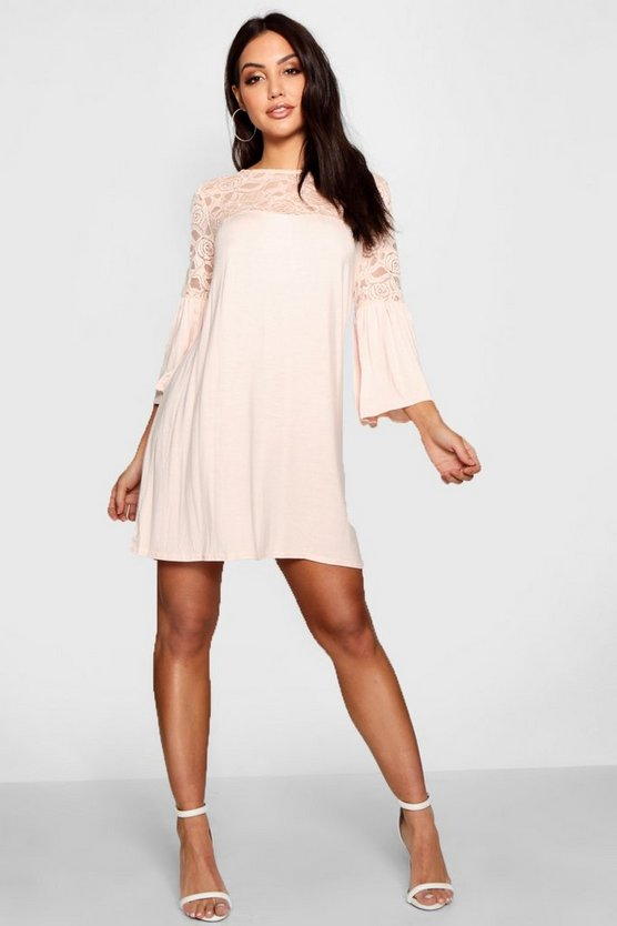 Nude Lace Insert Swing Dress