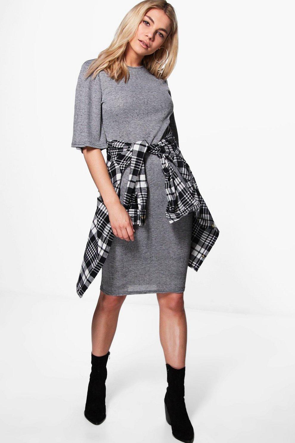 ba743d51ce55 India Ribbed Short Sleeve Bodycon Dress