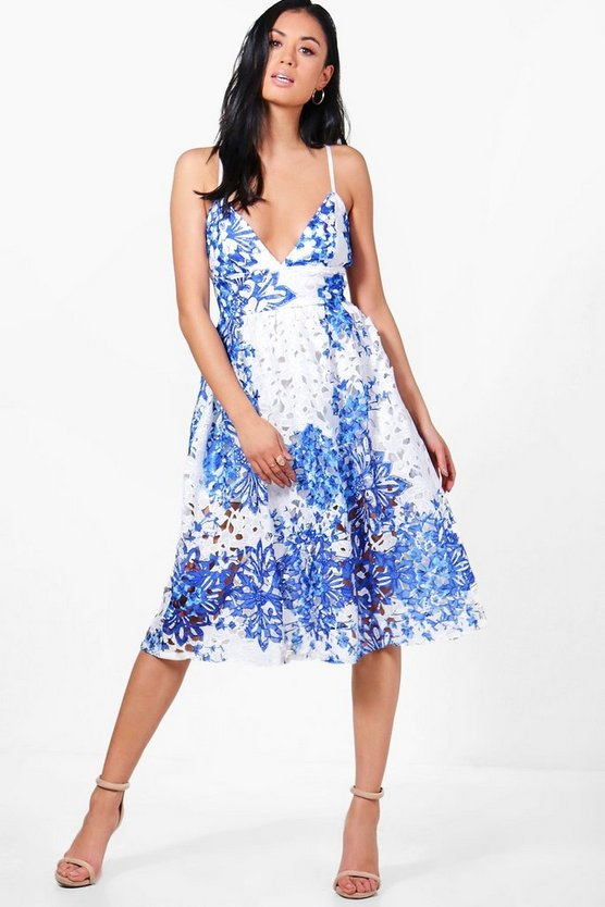 Boutique Porcelain Print Midi Skater Dress