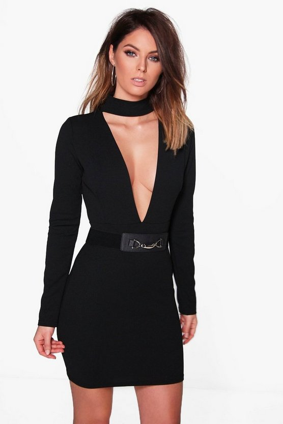 Belted Choker Long Sleeved Bodycon Dress
