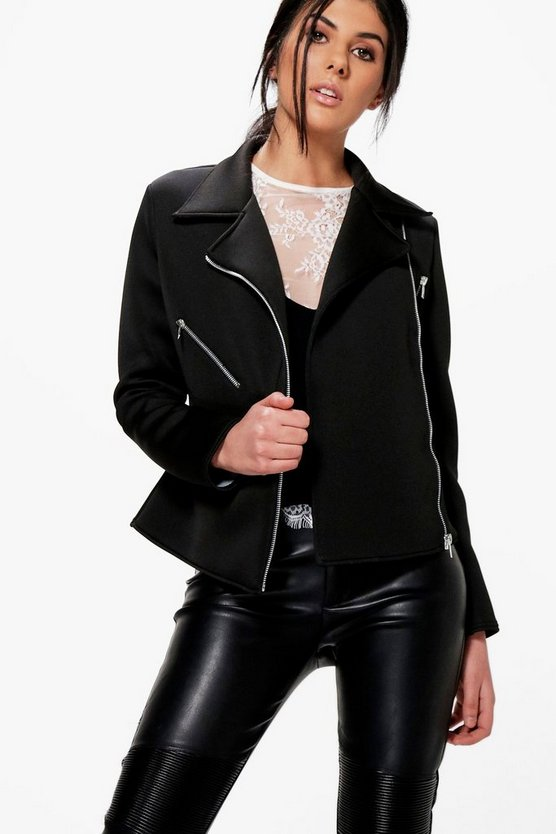 Womens Black Evelyn Structured Biker Jacket