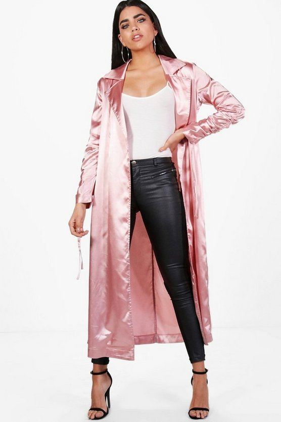 Georgina Satin Ruched Sleeve Duster