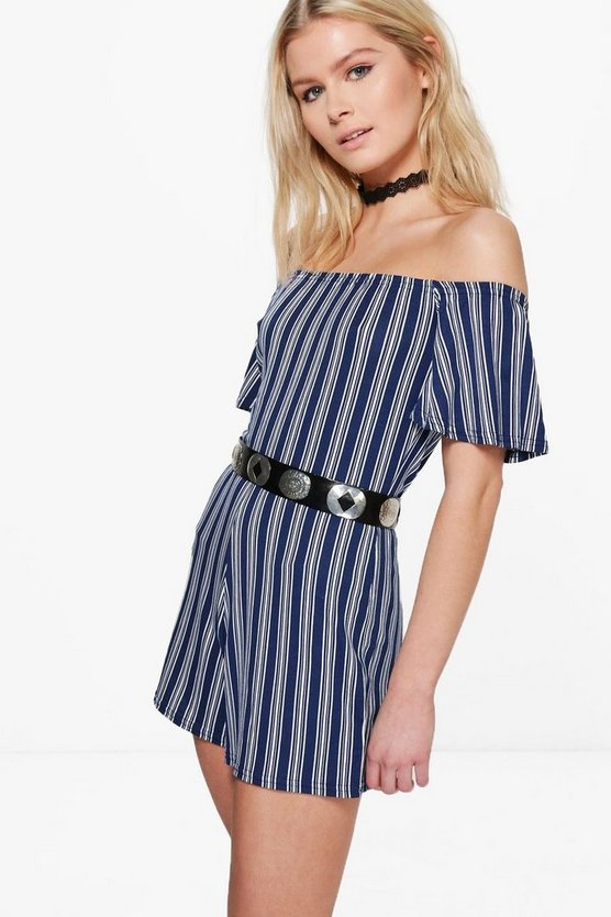Louise Off The Shoulder Ruffle Sleeve Playsuit