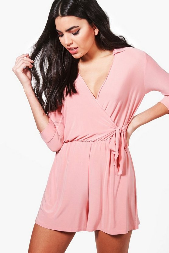 Skinny Wrap Over Tie Waist Playsuit