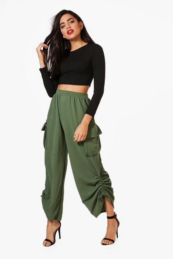 Alia Pocket Side Rouched Leg Utility Trousers