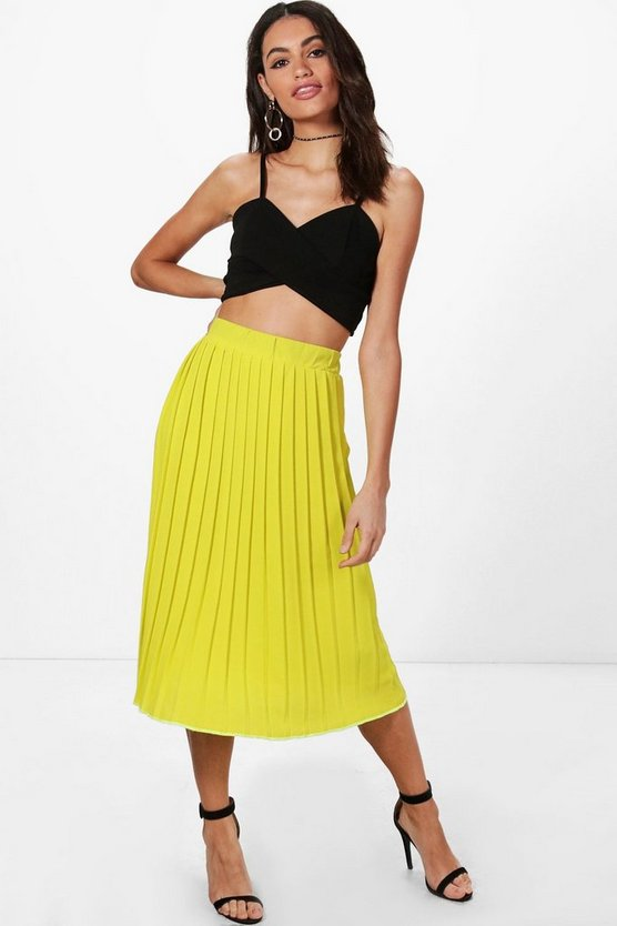 Womens Chartreuse Textured Crepe Pleated Midi Skirt