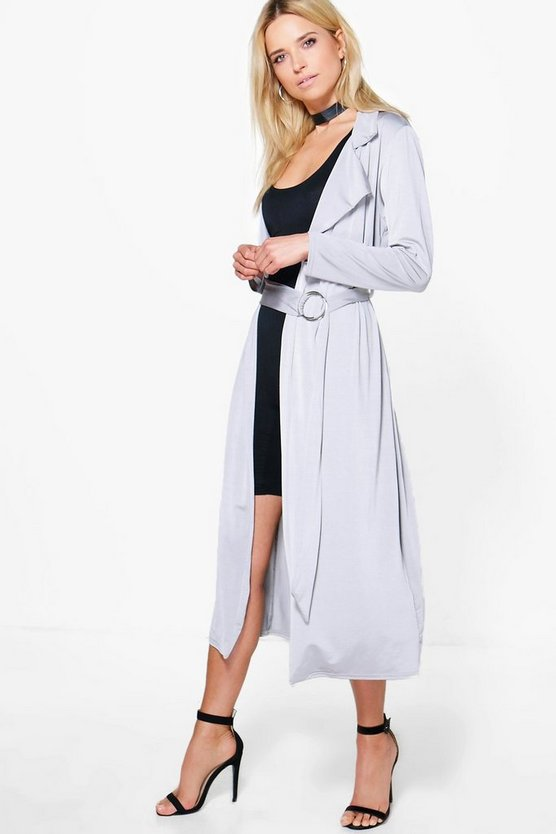 Deborah Ring Detail Slinky Maxi Trench