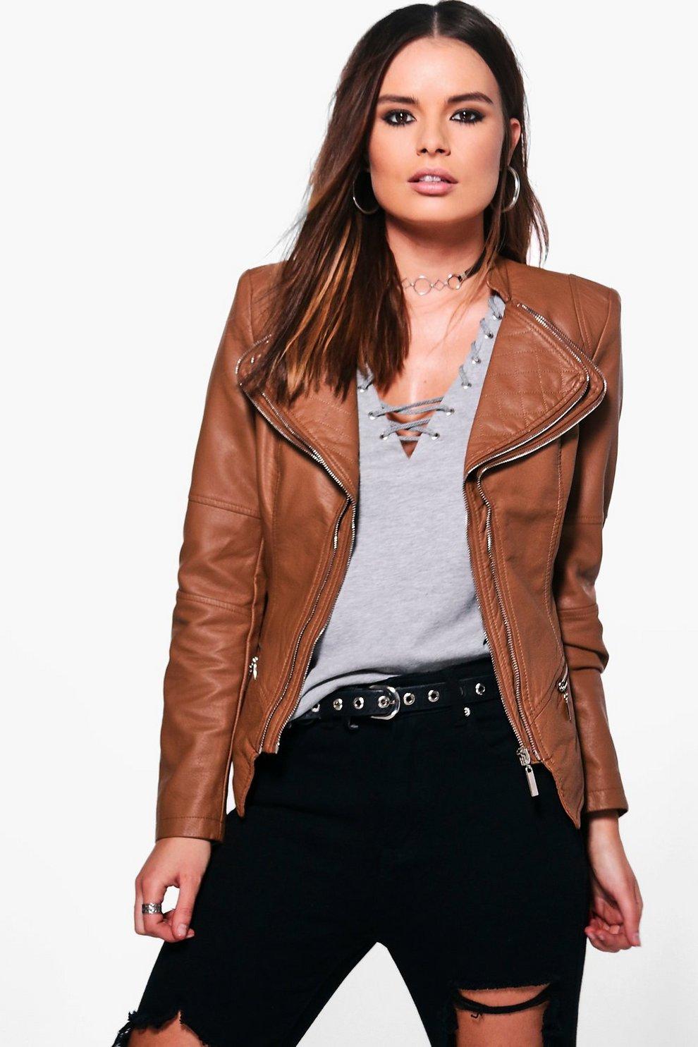 3c79f33b489a7 Womens Tan Natasha Faux Leather Biker Jacket