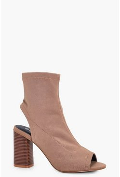 Womens Taupe Wide Fit Peeptoe Sock Boots