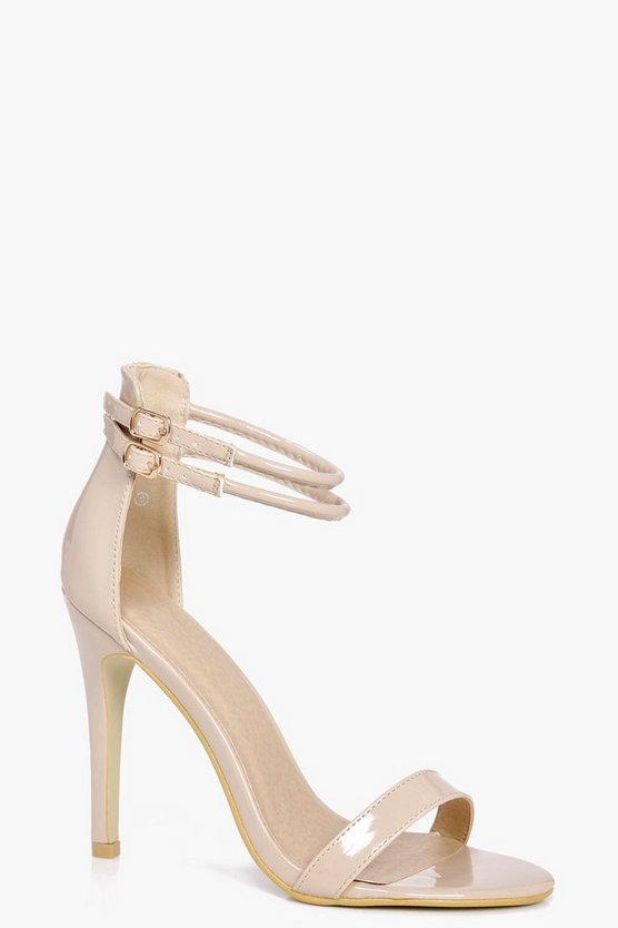 Womens Nude Double Ankle Band 2 Part Heels