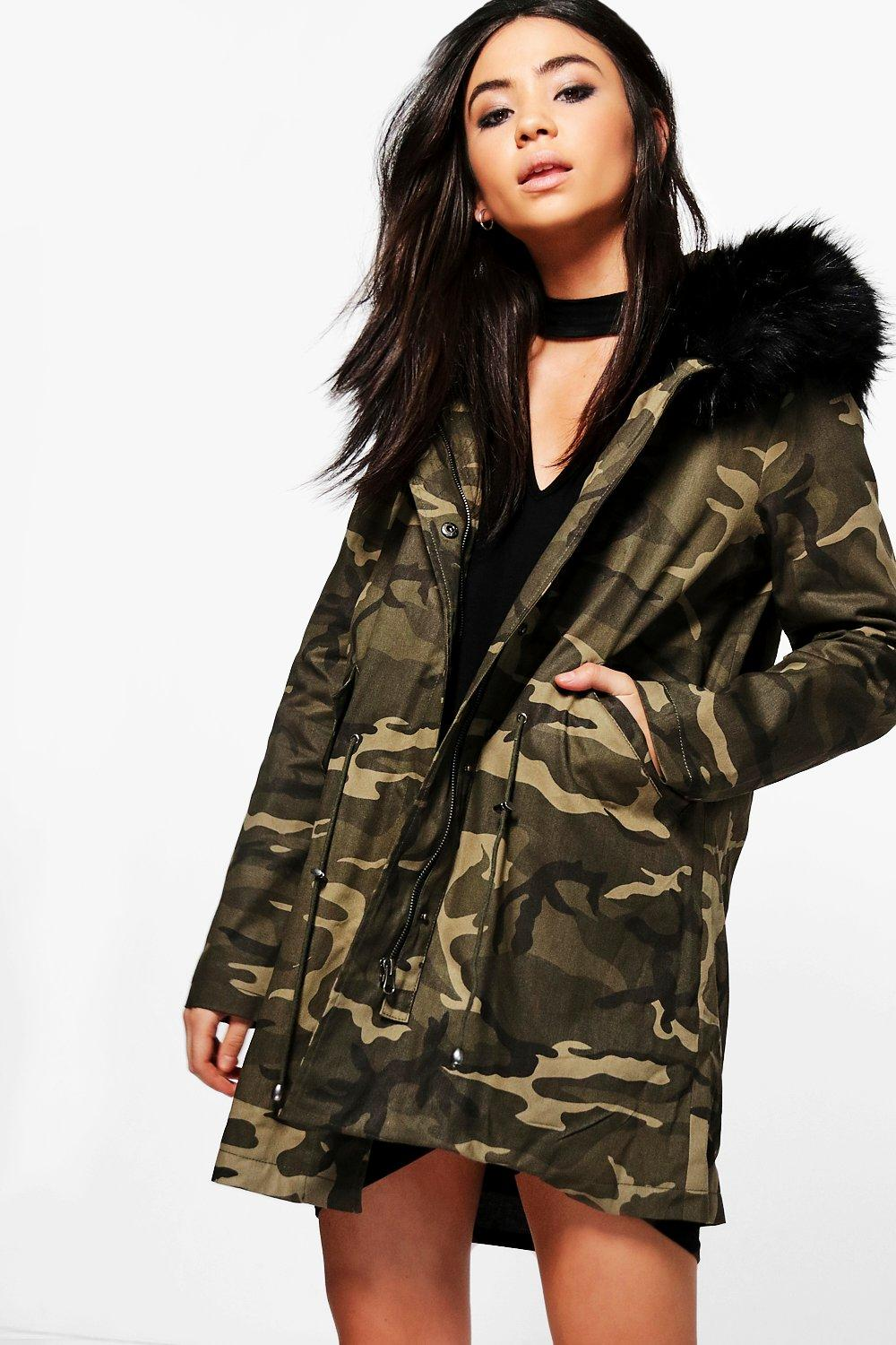 professional cheap price customers first Tiffany Boutique Camo Faux Fur Hood Parka | Boohoo