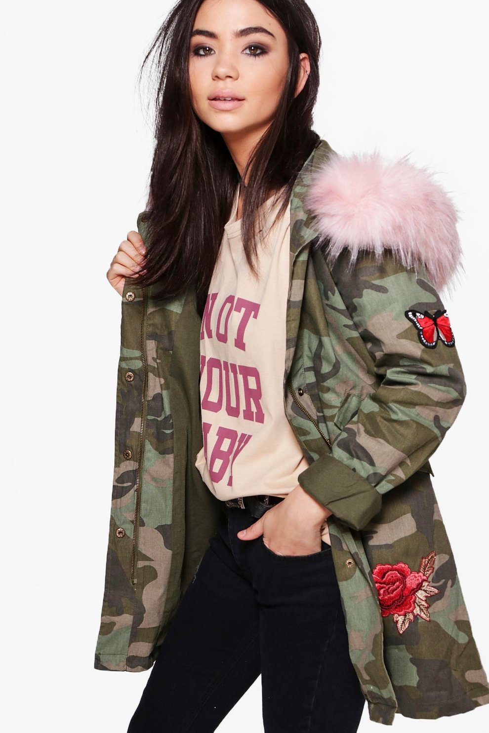 e603a9247 Olivia Boutique Camo Embroidered Faux Fur Hood Parka | Boohoo