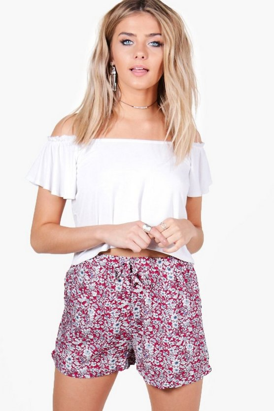 Womens Pink Amy Floral Print Flippy Shorts