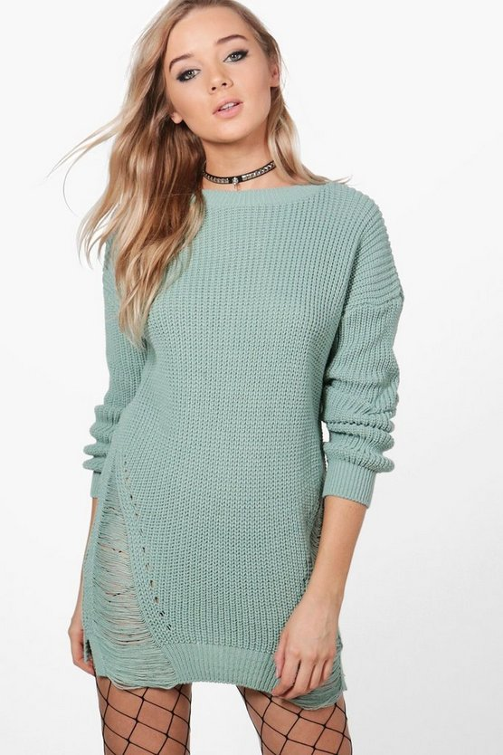 Melissa Distressed Hem Jumper Dress