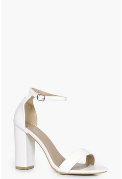 White 2 Part Block Heels