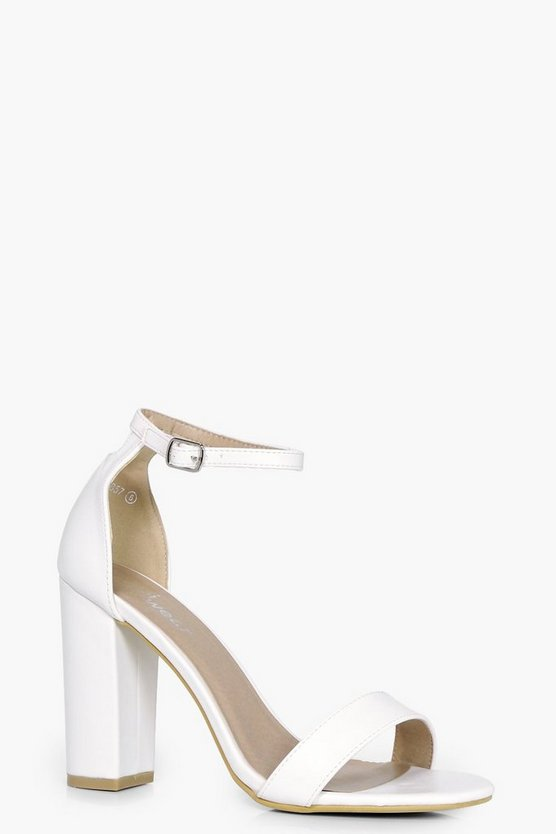 Womens White 2 Part Block Heels