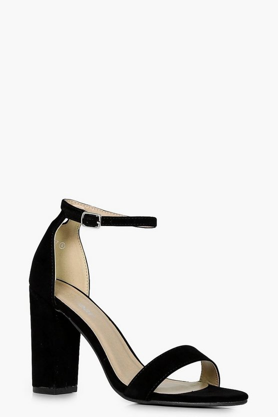 Womens Black 2 Part Block Heels