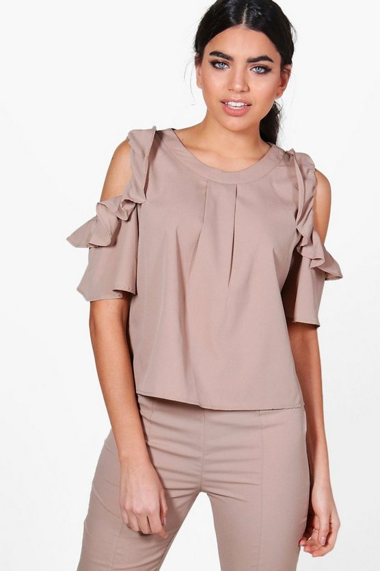 Becky Ruffle Cold Shoulder Top
