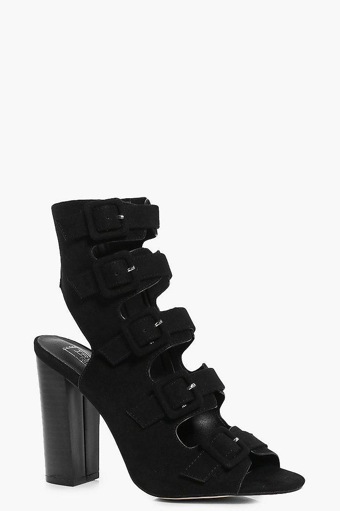 Isabelle Multi Buckle Block Heel Sandal | boohoo Australia