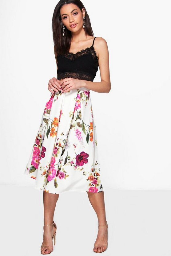 Avah Floral Box Pleat Midi Skirt