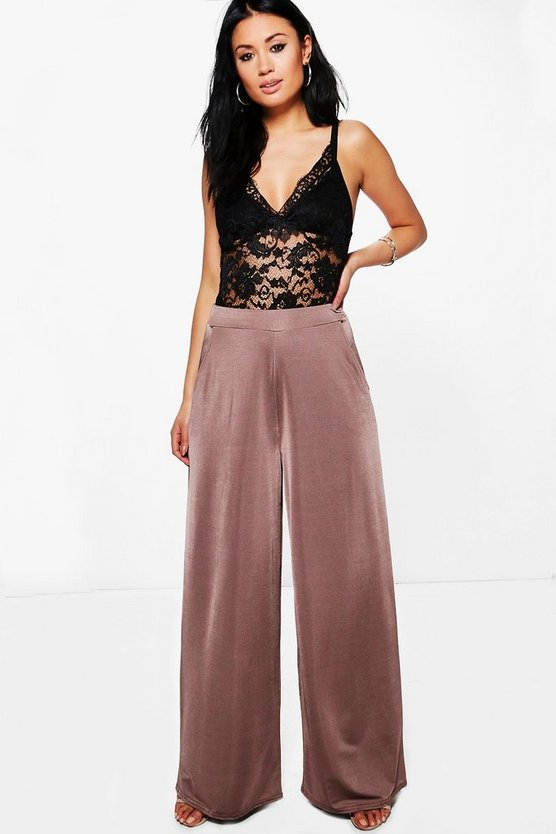 Womens Bronze Matilda Wide Leg Slinky Trousers