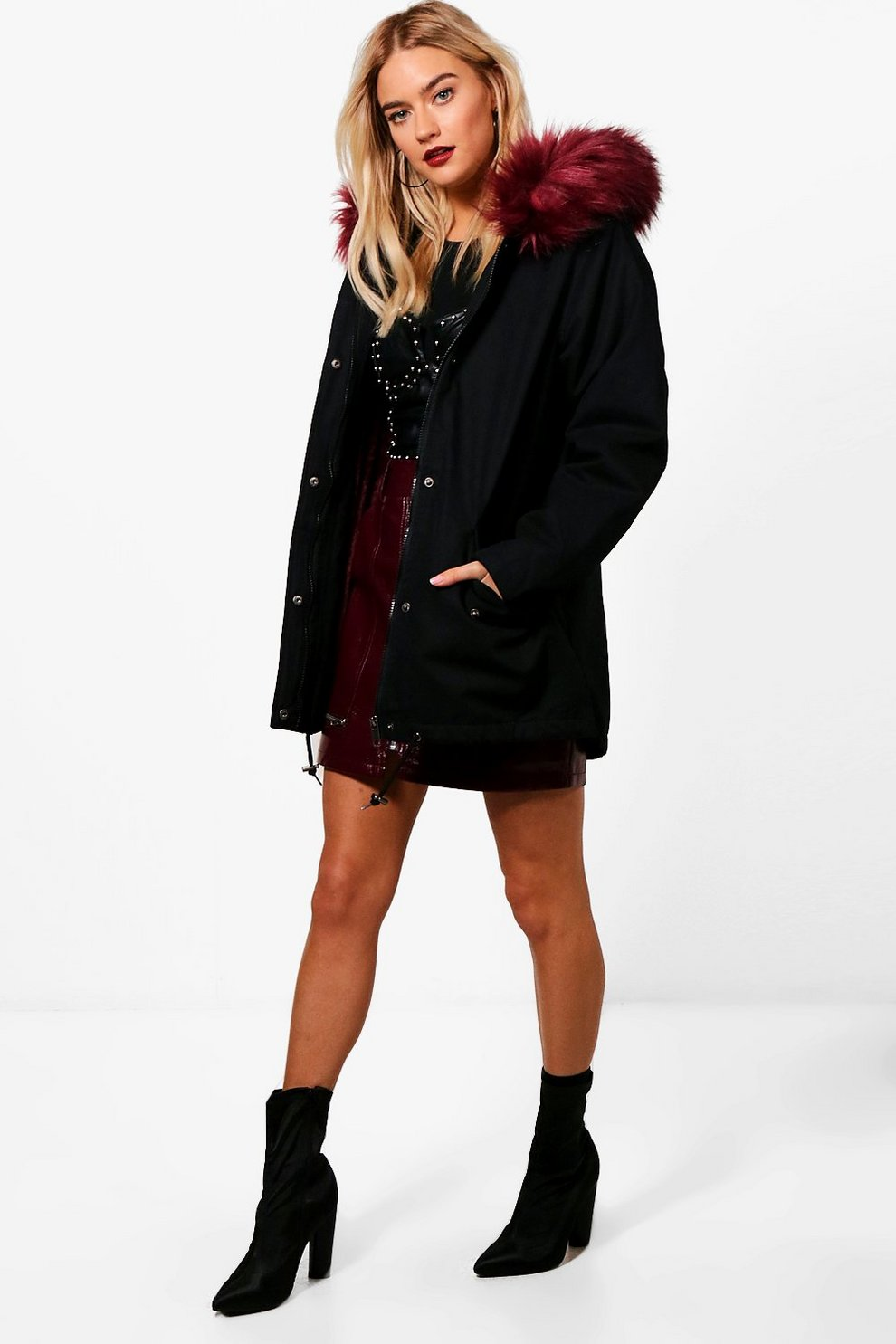6d7226223fe Parka With Burgundy Faux Fur Hood & Lining