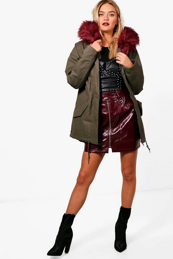 Danielle Parka With Burgundy Faux Fur Hood & Lining