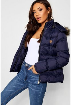 Short Quilted Jacket, Navy, Donna