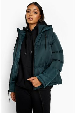 Womens Teal Hooded Padded Jacket