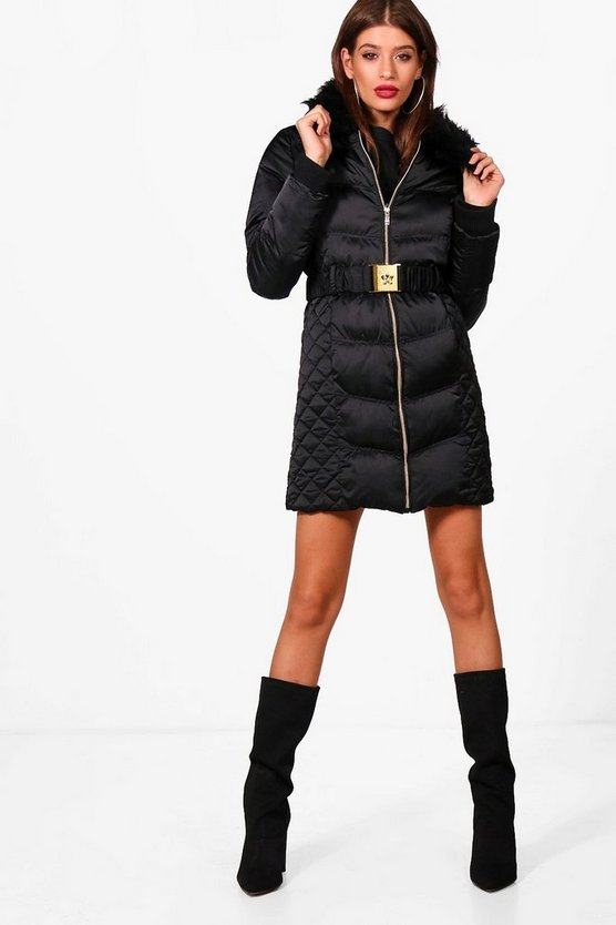 Belted Long Quilted Coat