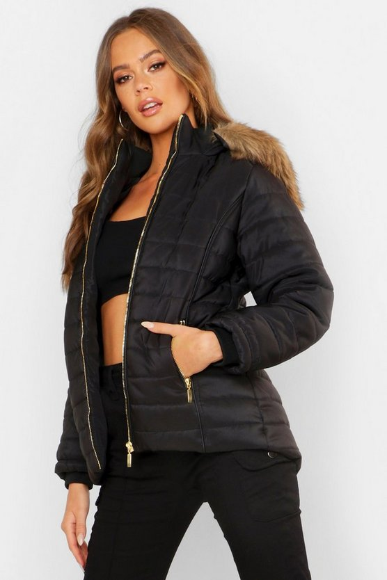 Womens Hooded Crop Bubble Coat