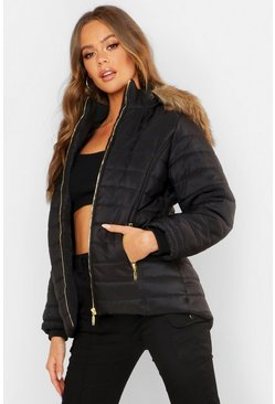 Womens Black Hooded Crop Bubble Coat