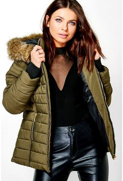 Womens Khaki Hooded Crop Bubble Coat