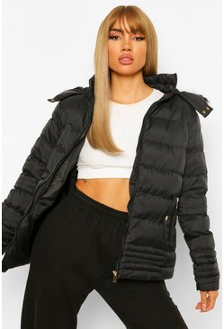 Dam Black Quilted Faux Fur Trim Jacket
