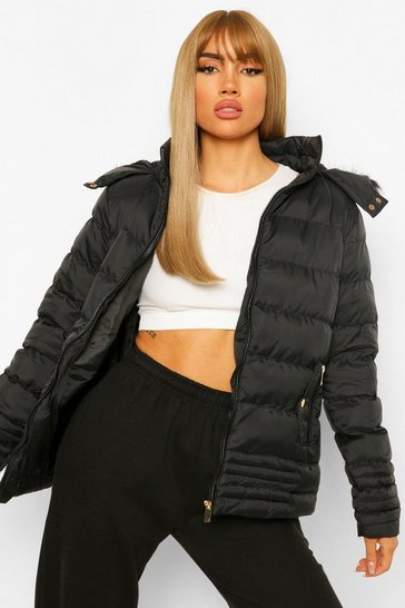 Womens Black Quilted Faux Fur Trim Jacket