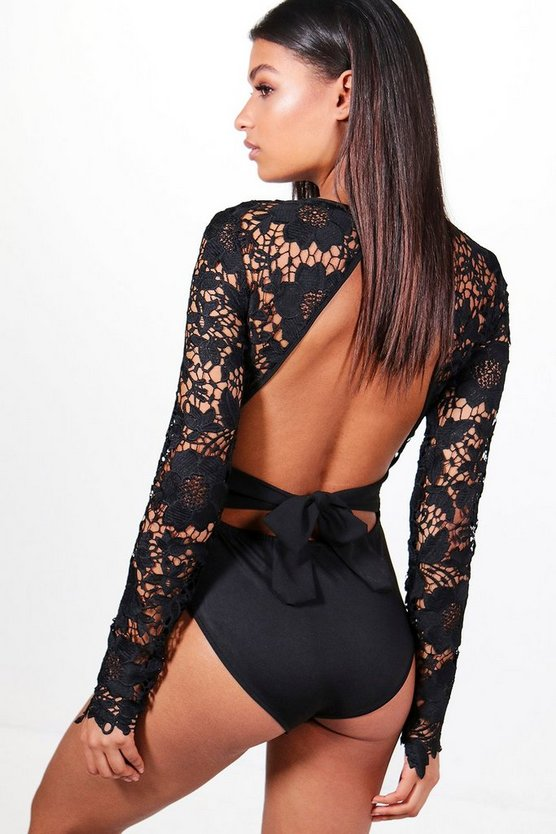 Womens Black Lace Open Back Bodysuit