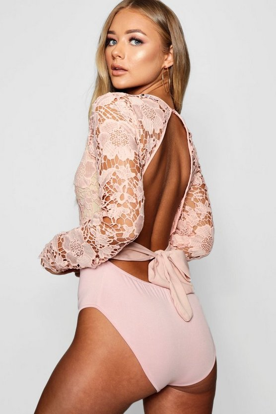 Womens Nude Lace Open Back Bodysuit