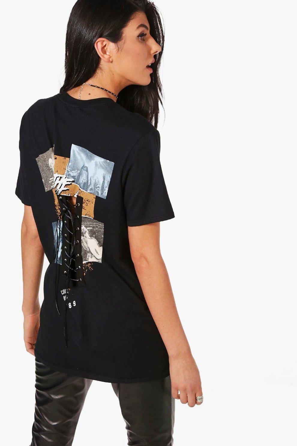 db26febbe15c Womens Black Lexi Lace Up Back Corset Printed T-Shirt