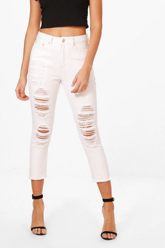 Runa Cropped Tapered Ankle Mom Jeans